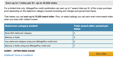 United Cruises Earn up  to 7 miles per $1