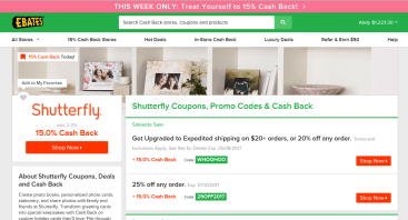 15% Cash Back on Shutterfly