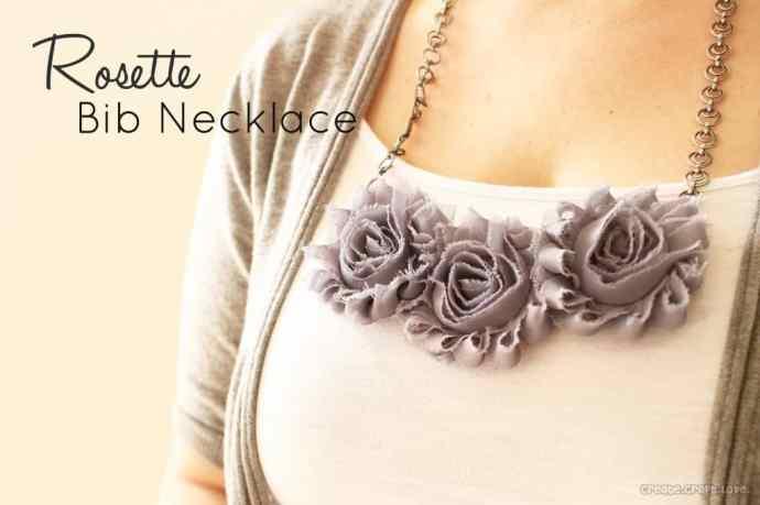 Easy Rosette Bib Necklace via createcraftlove.com #jewelry #rosettes