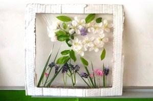 tablou din flori naturale presate - flori de cires
