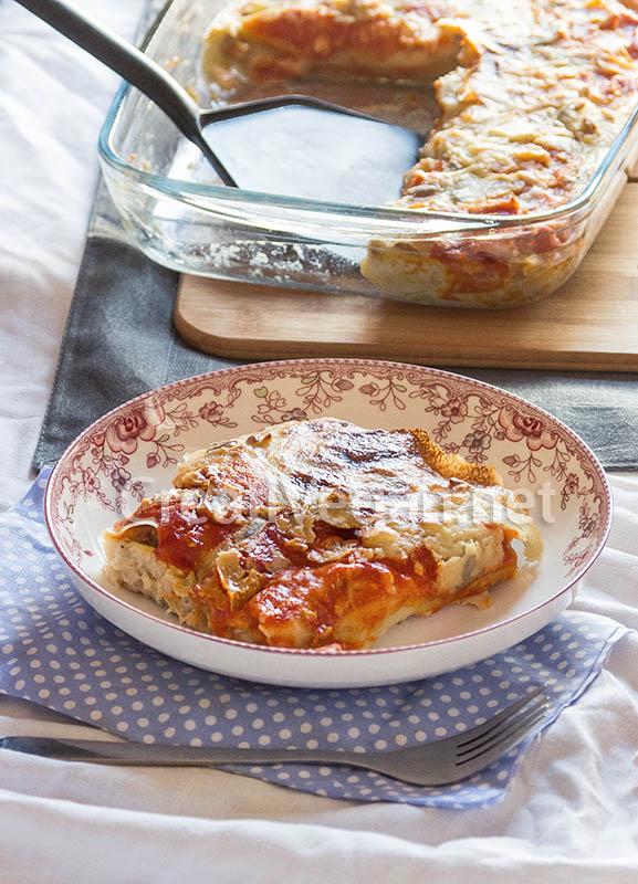 Canelones de patata y seit n con bechamel de almendras y for Cocinar seitan