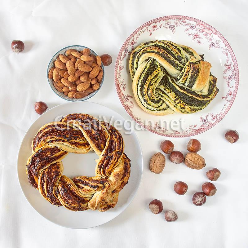 Corona de hojaldre trenzado con crema de espinacas