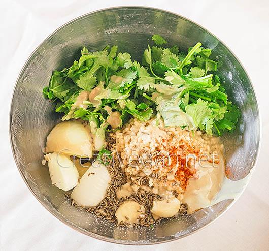 Ingredientes para hacer falafel de urad dal