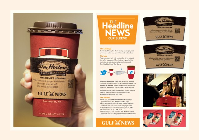 [CASE STUDY] The Headline News Twitter Integrated Cup Sleeve Guerrilla Marketing Photo