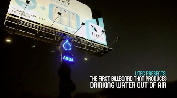 Creative Water Producing Billboard