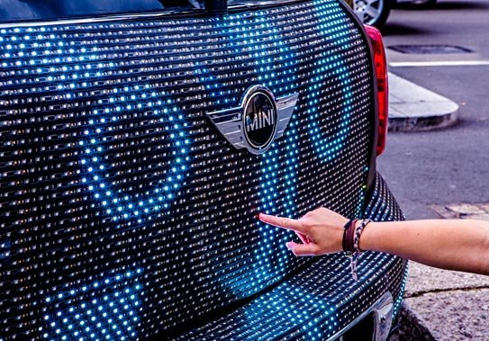MINI Launches World's First Hi Res, Interactive LED Car #MINIartbeat Guerrilla Marketing Photo