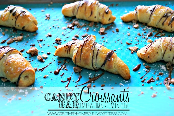 Candy Bar Croissants IN LESS THAN 20 MINUTES!!! What to do with the left over Halloween candy? #candybar #croissants #desert #delicious