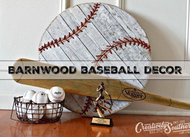 Barnwood Baseball Wall Decor