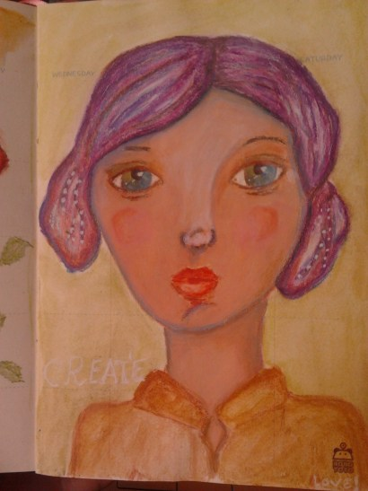 Art journal girl with Purple hair by creativemag.ro by Cristina Parus