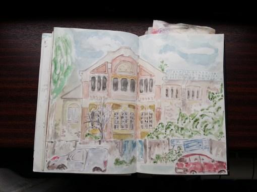 Uniza Electrică Filaret - watercolor sketch by Cristina Parus @ creativemag.ro