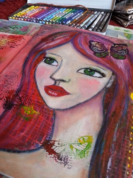 Redheaded girl in my art journal by Cristina Parus @ creativemag.ro