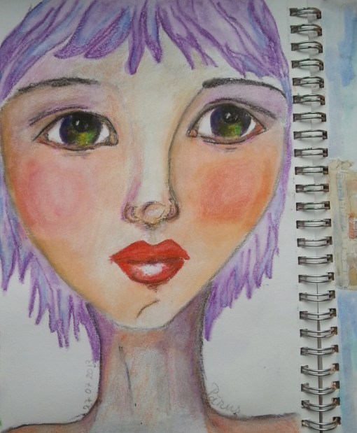 purple hair green eyes colored pencils portrait by Cristina Parus @ creativemag.ro
