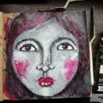 Acrylic palette knife painting face