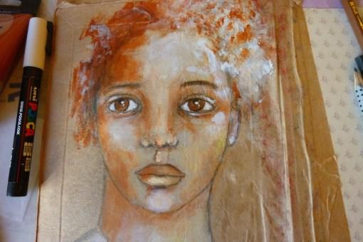 Mixed media Pretty face by Cristina Parus @ creativemag.ro
