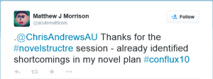 Thank you from M J Morrison following Confluc Workshop