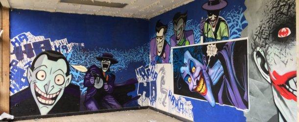 Amazing Batman graffiti inside abandoned nursing school