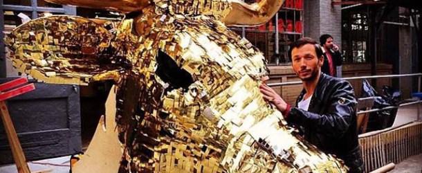Artist Sebastian Errazuriz Unveils Giant Cash-Filled Golden Calf Piñata for 2014 NYCxDesign Festival