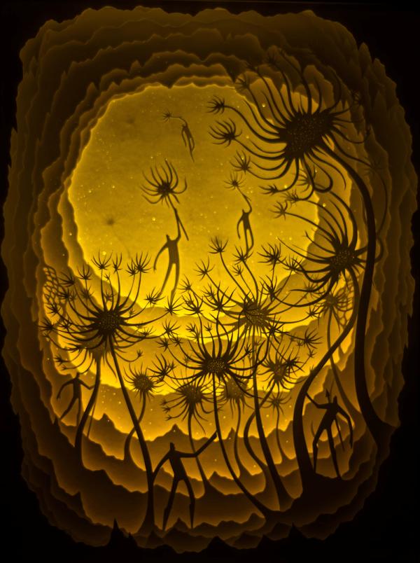 backlit paper sculptures