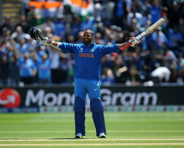 Shikhar Dhawan after completing his maiden ODI hundred in 80 balls