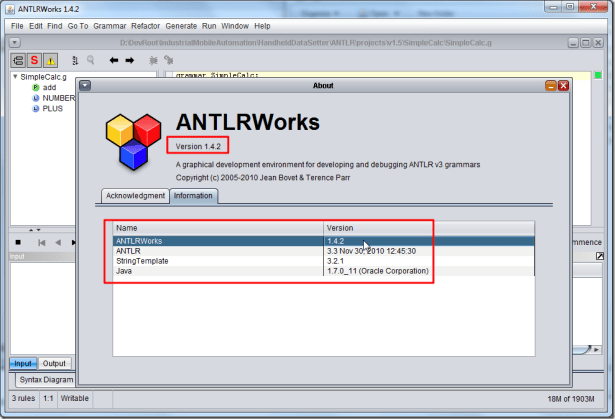 antlrworks 1.4.2 help about information