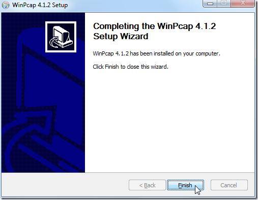 install winpcap done