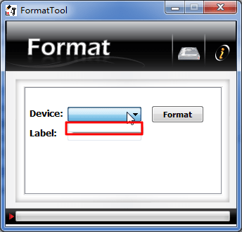 format tool can not found device