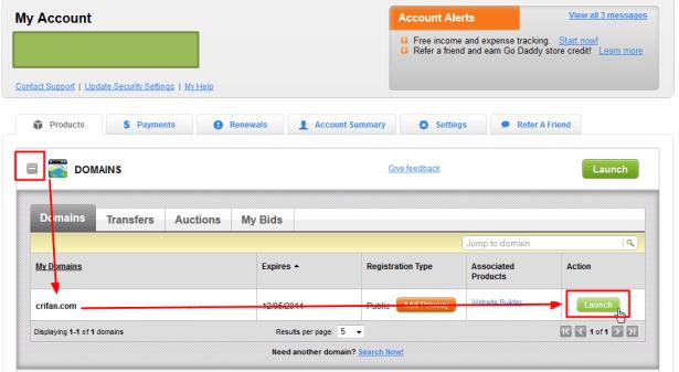 login godaddy then choose domain launch