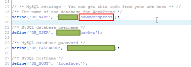 remove database suffix 1 to hawkwordpress