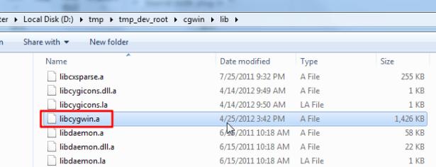 cygwin libcygwin a file