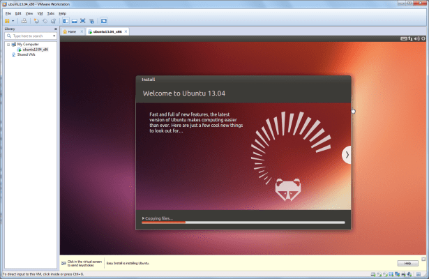 show welcome to ubuntu 13.04 ui