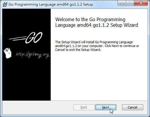 welcome to the go programming language amd64 go1.1.2 setup wizard