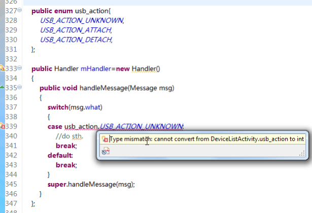 Type mismatch cannot convert from DeviceListActivity.usb_action to int