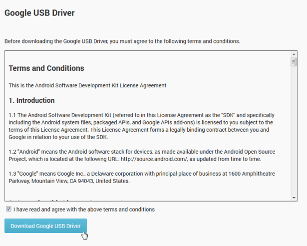 accept license before download google usb driver
