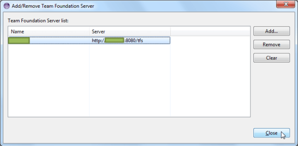 added tfs server then close