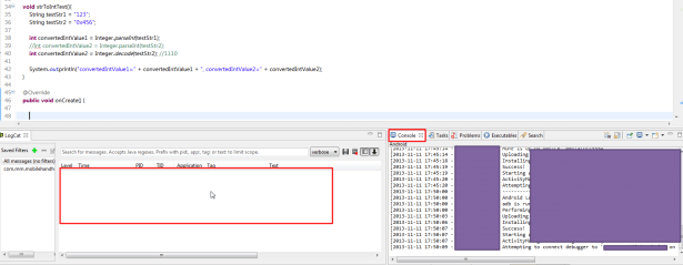 can  not see output in logcat or console