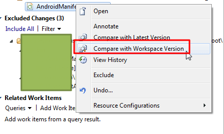 continue try compare with workspace version