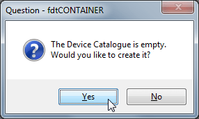 the device catalogue is empty would you like to create it