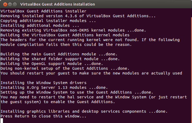 VirtualBox Guest Additions installer not found header