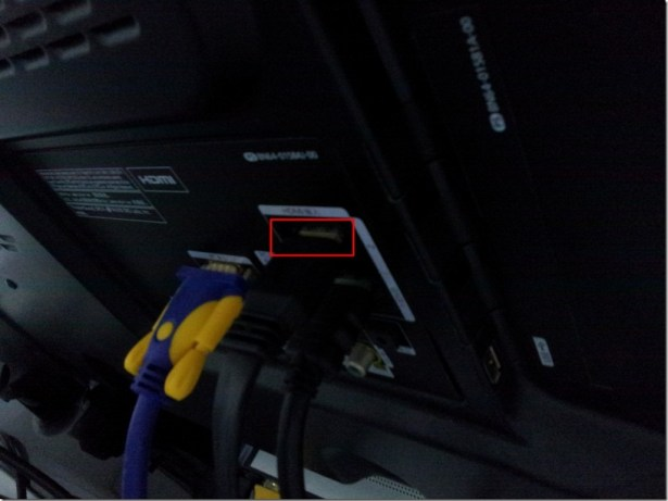 whole view for hdmi cable on back of lcd