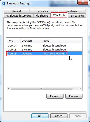 csr bluetooth settings com port show com15 MACTekViator75FE