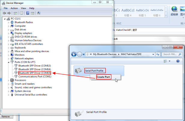 serial port profile create port show com15 in device manager