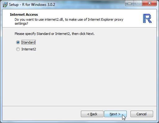 Setup R for Windows 3.0.2 internet access standard