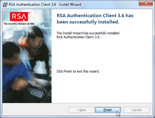 RSA authentication client 3.6 install wizard finish