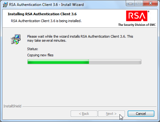 RSA authentication client 3.6 install wizard installing