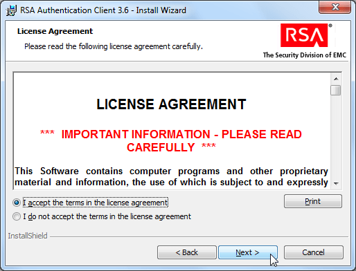 RSA authentication client 3.6 install wizard license agreement