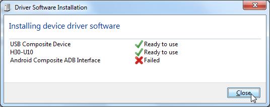 huawei h30-u10 usb driver install fail