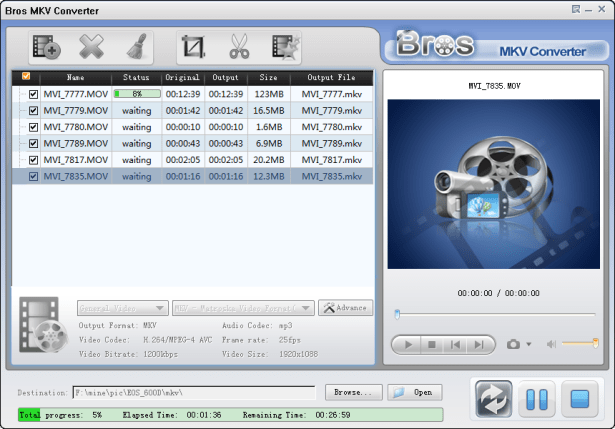 use bros mkv converter to convert mutiple file once