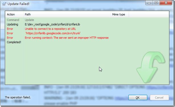 tortoisesvn update failed Error running context The server sent an improper HTTP response