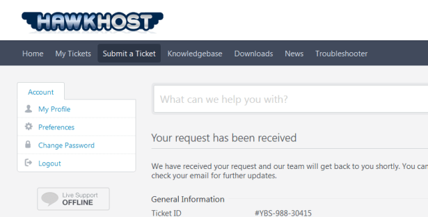 hawkhost your request has been received