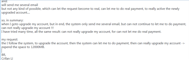 send hawk mail to complain can not pay and upgrade account 3